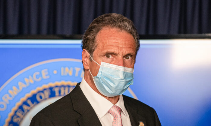 New York Gov. Andrew Cuomo attends a briefing at the Office of the Governor of the State of New York on June 12, 2020. (Jeenah Moon/Getty Images)