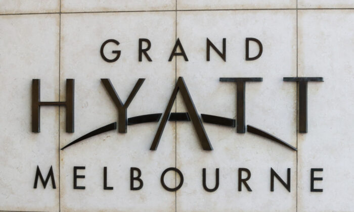 A general view of the entrance and Signage of the Grand Hyatt hotel, one of the three hotels being used for quarantine of players and accompanying staff competing in the Australian Open on January 14, 2021 in Melbourne, Australia.(Asanka Ratnayake/Getty Images)