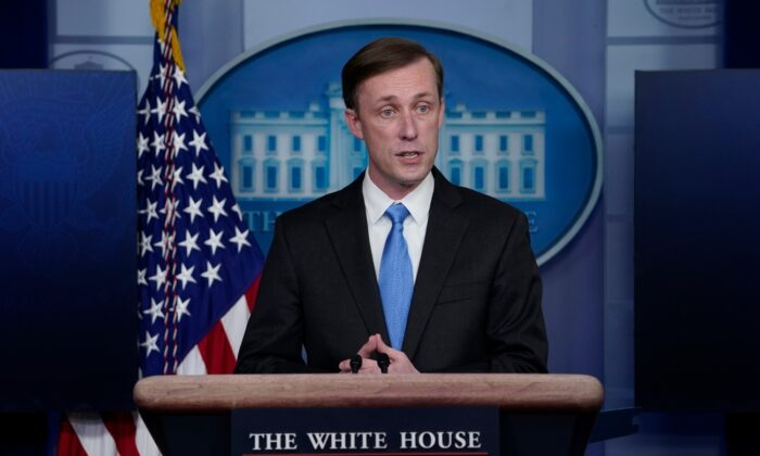 National security adviser Jake Sullivan speaks during a press briefing at the White House on Feb. 4, 2021. (Evan Vucci/AP Photo)