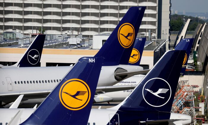 Lufthansa planes are seen parked on the tarmac of Frankfurt Airport, Germany on June 25, 2020. (Kai Pfaffenbach/Reuter File Photo)