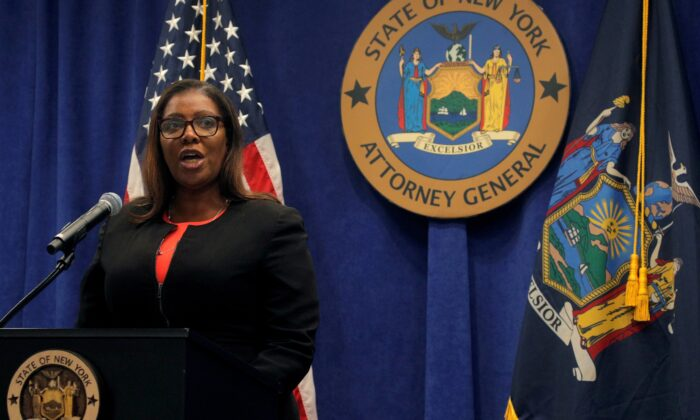 New York State Attorney General, Letitia James, speaks during a news conference in New York, N.Y., on Aug. 6, 2020. (Brendan McDermid/Reuters)