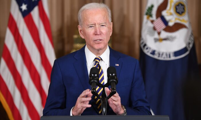 President Joe Biden speaks about foreign policy at the State Department in Washington on Feb. 4, 2021. (Saul Loeb/AFP via Getty Images)