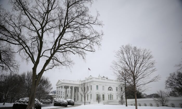 Snow from a storm is seen blanketed across the White House North Lawn in Washington on Feb. 1, 2021. (Tom Brenner/Reuters)
