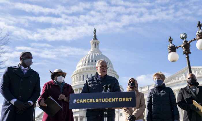 Senate Majority Leader Chuck Schumer (D-N.Y.) speaks during a press conference about student debt outside the U.S. Capitol in Washington on Feb. 4, 2021. (Drew Angerer/Getty Images)