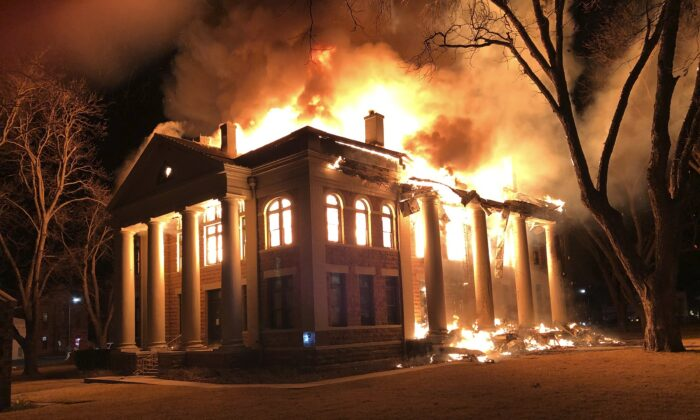 A fire at the Mason County Courthouse in Texas on Feb. 4, 2021. (Mason County Judge Jerry Bearden via AP)
