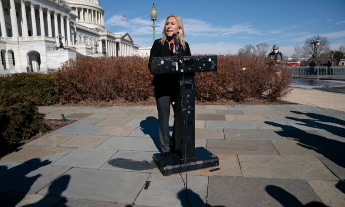 Representative Marjorie Taylor Greene, Republican of Georgia, speaks during a press conference on Capitol Hill on February 5, 2021 in Washington. (ALEX EDELMAN/AFP via Getty Images)