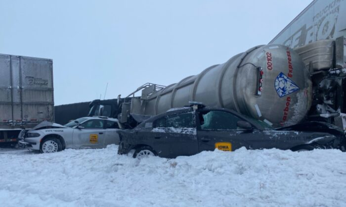 Whiteout conditions on Interstate-80 west of Newton, Iowa, lead to 40 vehicle collision on Feb. 4, 2021. (Courtesy of Iowa State Patrol)