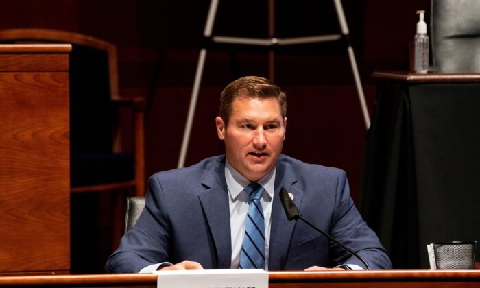 Rep. Guy Reschenthaler (R-Pa.) speaks on Capitol Hill in Washington on June 24, 2020. (Anna Moneymaker/Pool/AFP via Getty Images)