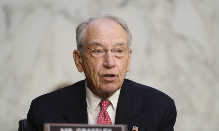 Sen. Charles Grassley (R-Iowa) speaks before the Senate Judiciary Committee on Capitol Hill in Washington, on Oct. 14, 2020. (Susan Walsh/AP Photo)