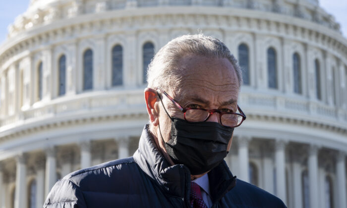 Senate Majority Leader Chuck Schumer (D-N.Y.) speaks to reporters in Washington on Feb. 4, 2021. (Drew Angerer/Getty Images)