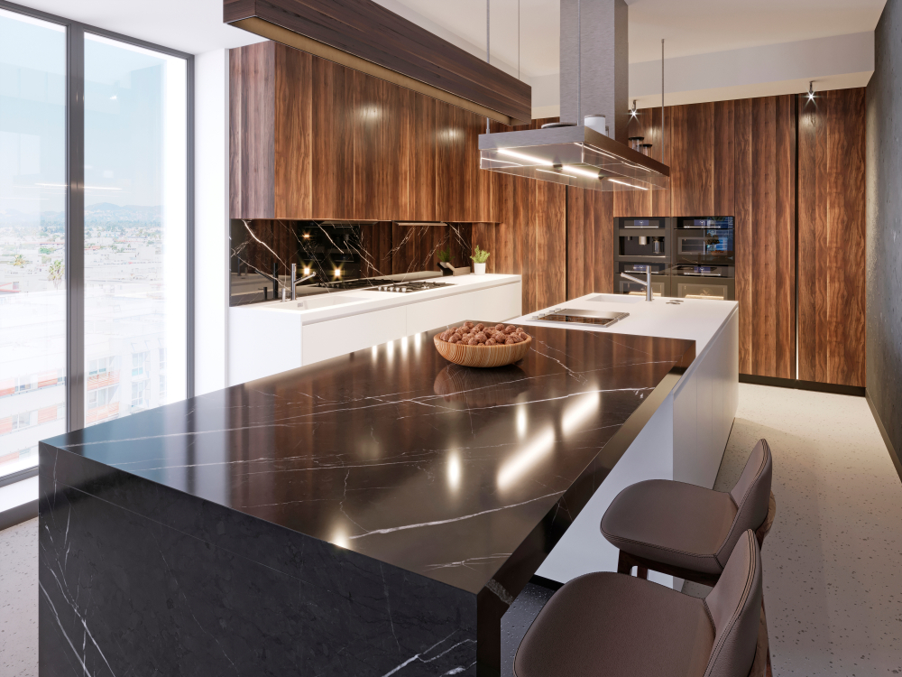 Luxurious,Bar,Counter,Of,Black,Marble,With,A,Wooden,Plate