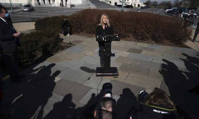 Rep. Marjorie Taylor Greene (R-Ga.) speaks during a press conference outside the U.S. Capitol in Washington on Feb. 5, 2021. (Drew Angerer/Getty Images)