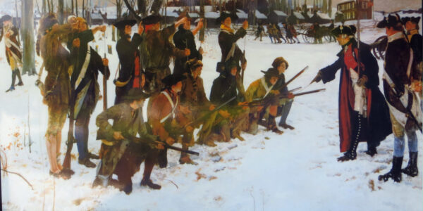 Baron_Steuben_drilling_troops_at_Valley_Forge_by_E_A_Abbey_