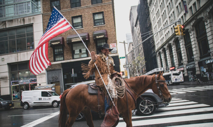 Otero County Commission Chairman and Cowboys for Trump co-founder Couy Griffin rides his horse on 5th avenue in New York City, on May 1, 2020. (Jeenah Moon/Getty Images)