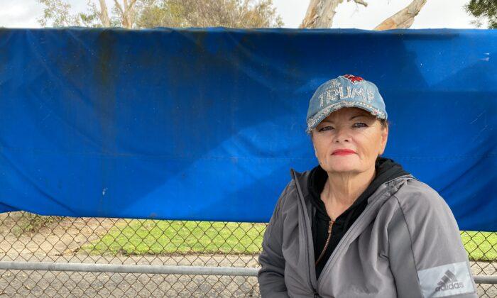 Diana Davis sits near the American Legion in Newport Beach, Calif., on Feb. 3, 2021. (Jack Bradley/The Epoch Times)