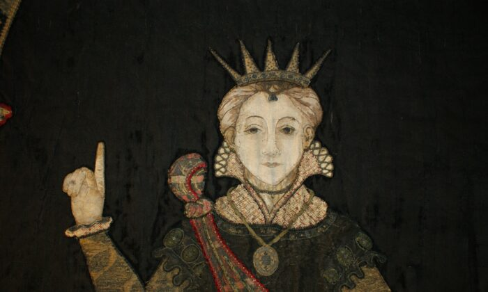 A detail of Penelope after restoration, one of the appliqué needlework wall hangings of noblewomen at Hardwick Hall in Derbyshire, England. (Claire Hill/National Trust)