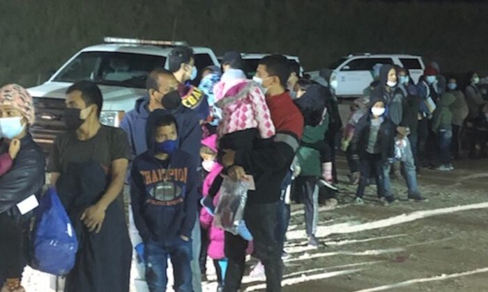 U.S. Border Patrol agents apprehended two large groups of illegal aliens within an hour of each other near Mission, Texas, on Feb. 4, 2021. (Courtesy of U.S. Customs and Border Protection)