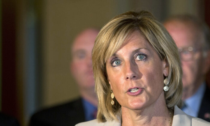 Then-Assemblywoman Claudia Tenney speaks during a news conference at the Capitol, in Albany, N.Y., on June 10, 2015. (Mike Groll/AP Photo)