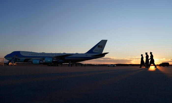 Preparations are made at Joint Base Andrews in Maryland for the departure of outgoing President Donald Trump on Jan. 20, 2021. (Alex Edelman/AFP via Getty Images)