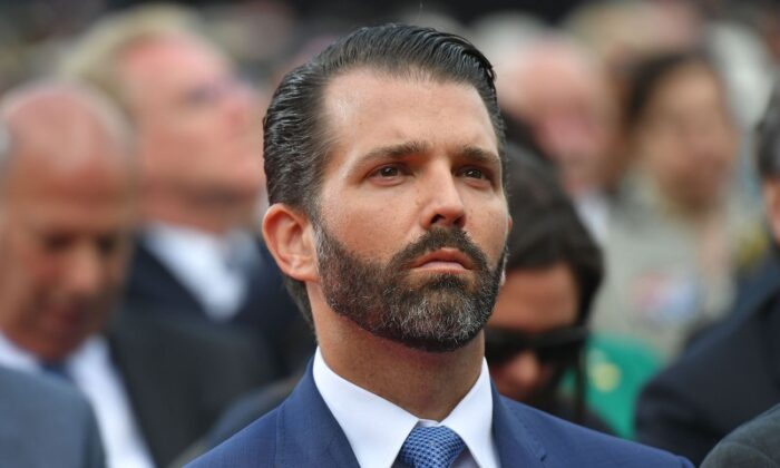 Donald Trump Jr. at the Normandy American Cemetery and Memorial in Colleville-sur-Mer, Normandy, northwestern France, on June 6, 2019. (Mandel Ngan/AFP via Getty Images)