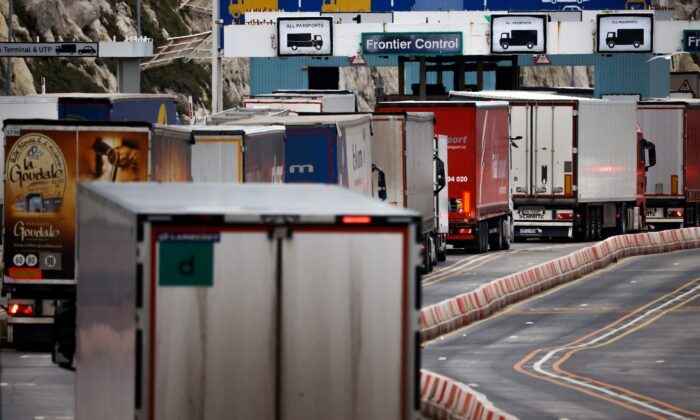 Lorries queue in at the border control of the Port of Dover, following the end of the Brexit transition period, in Dover, Britain, on Jan. 15, 2021. (John Sibley/Reuters)