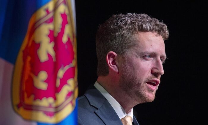 Iain Rankin addresses supporters after winning the leadership of the Nova Scotia Liberal party at a virtual convention in Halifax on Feb. 6, 2021.  (The Canadian Press/Andrew Vaughan-Pool)