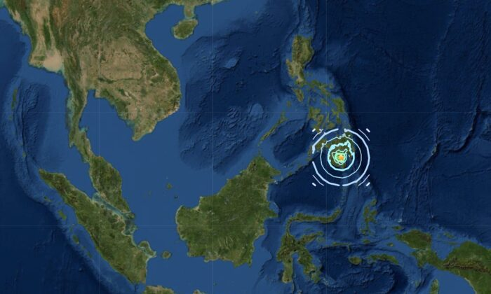 Magnitude 6.0 earthquake strikes at Mindanao Island in the Philippines on Feb. 7, 2021. (Screenshot/USGS)