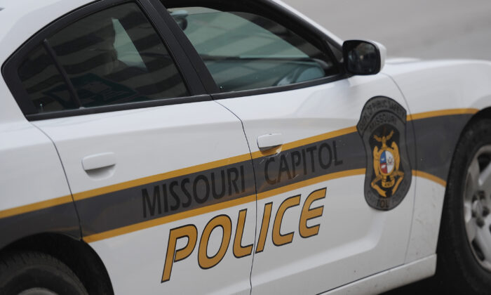 A Missouri Capitol Police cruiser is seen outside the Missouri State Capitol Building in Jefferson City, Mo., on Jan. 17, 2021. (Michael B. Thomas/Getty Images)