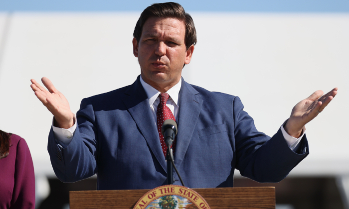 Florida Gov. Ron DeSantis at the Hard Rock Stadium in Miami Gardens, Fla., on Jan. 6, 2021. (Joe Raedle/Getty Images)