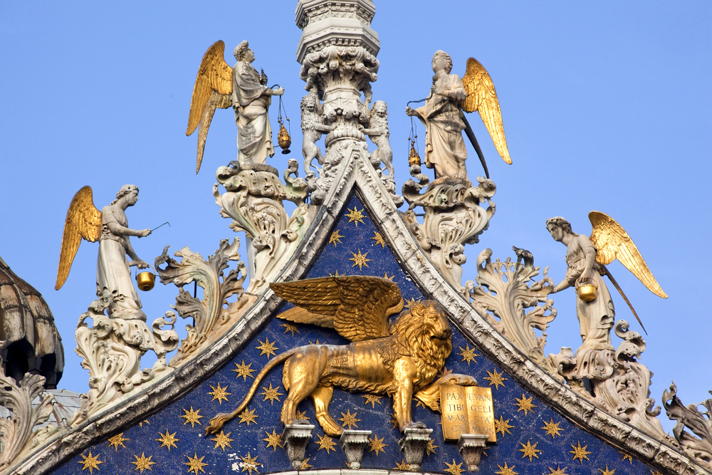 Saint,Marks,Basilica,,Cathedral,,Church,Winged,Golden,Lion,Symbol,Of