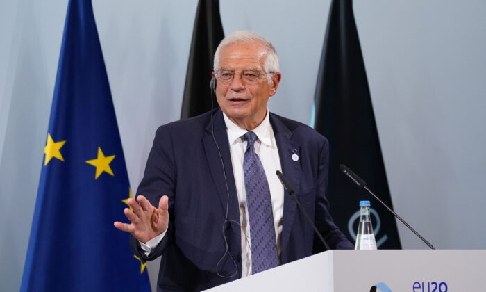 Josep Borell, High Representative of the European Union for Foreign Affairs and Security Policy, speaks to the media in Berlin on Aug. 26, 2020. (Sean Gallup/Getty Images)