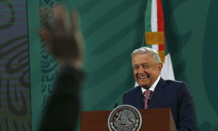 Mexican President Andrés Manuel López Obrador gives his daily morning press conference at the presidential palace, Palacio Nacional in Mexico City on Feb. 8, 2021. (Marco Ugarte/AP Photo)