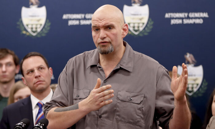 Pennsylvania Lieutenant Governor John Fetterman speaks during a press conference in Pittsburgh, Pa., on Feb. 7, 2019. (Keith Srakocic/AP Photo)