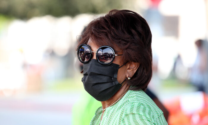 Rep. Maxine Waters (D-Calif.) is seen at Dymally High School in Los Angeles, Calif., on Sept. 26, 2020. (Rich Fury/Getty Images)