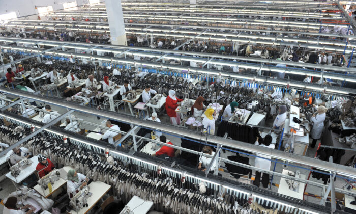 Employees work at a textile factory in Tangiers, Morocco in a file photo. (Abdelhak Senna/AFP via Getty Images)