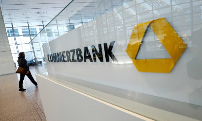 A company logo is pictured at the headquarters of Germany's Commerzbank AG in Frankfurt, Germany, on Feb. 13, 2020. (Ralph Orlowski/Reuters)
