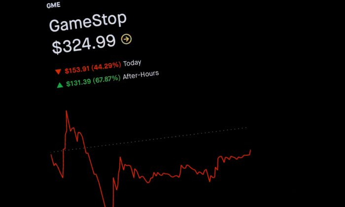 Trading information for GameStop is displayed on the Robinhood App in this photo illustration on Jan. 29, 2021. (Brendan McDermid/Reuters)