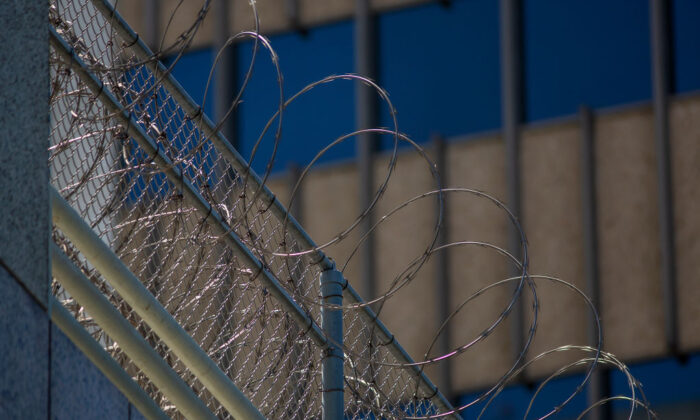 Razor wire on a prison in California in a file photo. (David McNew/Getty Images)