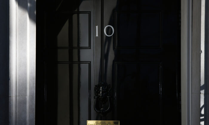 A view of the front door at 10 Downing Street in London, on April 7, 2020. (Chris J Ratcliffe/Getty Images)