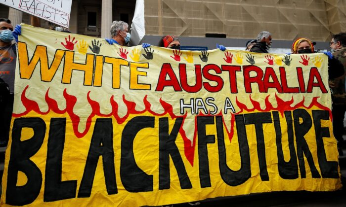 Demonstrators attend a Black Lives Matter protest to express solidarity with US protestors in Melbourne on June 6, 2020. (Con Chronis/AFP via Getty Images)