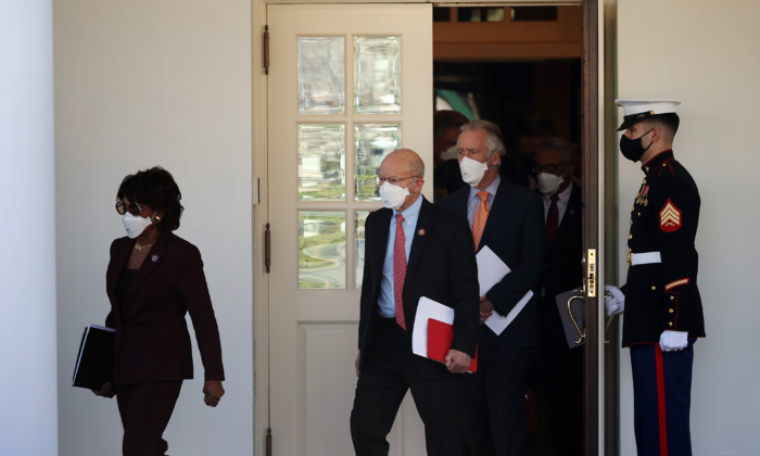 (L-R) House Financial Services Committee Chair Maxine Waters (D-CA), House Transportation Committee Chairman Peter DeFazio (D-WA), House Ways and Means Committee Chairman Richard Neal (D-MA) and other House Democratic leaders walk out of the West Wing of the White House after meeting with President Joe Biden to discuss COVID-19 relief legislation on Feb. 5, 2021. (Chip Somodevilla/Getty Images)