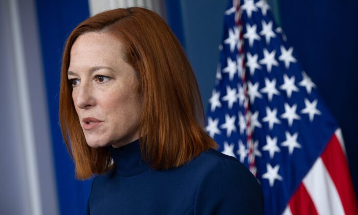 White House Press Secretary Jen Psaki speaks during a press briefing in the Brady Briefing Room of the White House in Washington on Feb. 8, 2021. (Saul Loeb/AFP via Getty Images)