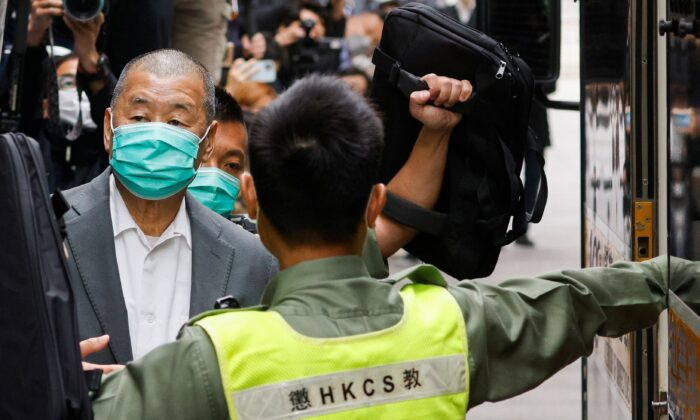 Media mogul Jimmy Lai leaves the Court of Final Appeal by prison van in Hong Kong, on Feb. 9, 2021. (Tyrone Siu/Reuters)
