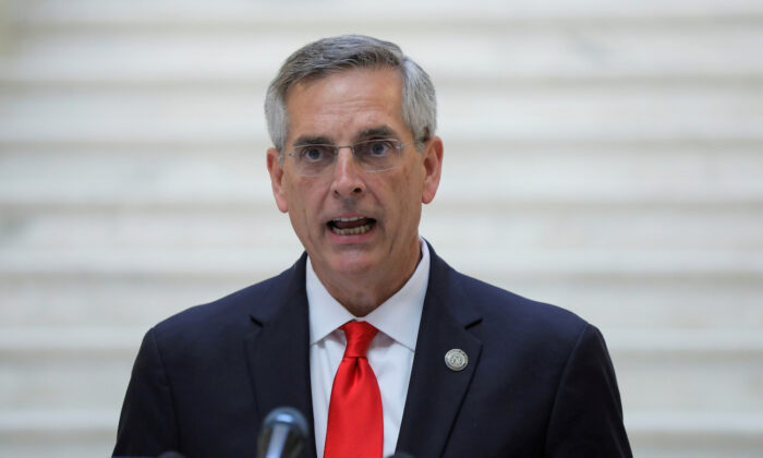 Georgia Secretary of State Brad Raffensperger speaks at a news conference at the State Capitol in Atlanta, Georgia, on Nov. 6, 2020. (Dustin Chambers/Reuters)