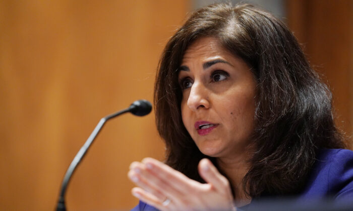 Neera Tanden, nominee for Director of the Office of Management and Budget, speaks during a confirmation hearing before the Senate Homeland Security and Government Affairs Committee in Washington, D.C., on Feb. 9, 2021. (Leigh Vogel/Pool/Getty Images)