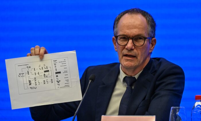 Peter Ben Embarek speaks during a press conference to wrap up a visit by an international team of experts from the World Health Organization (WHO) in the city of Wuhan, in China's Hubei province on Feb. 9, 2021. (Hector Retamal/AFP via Getty Images)