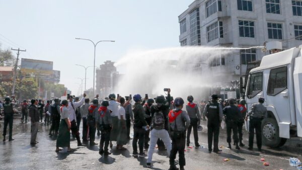 Police use water cannon