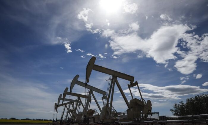 Pumpjacks draw oil out of the ground near Olds, Alta., July 16, 2020. (Jeff McIntosh/The Canadian Press)