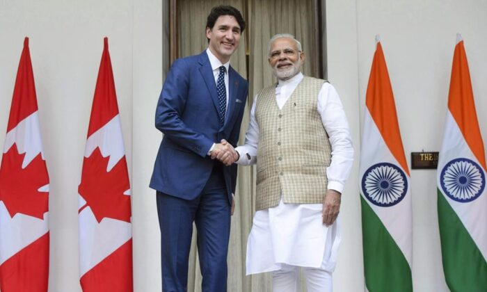 Prime Minister Justin Trudeau meets with Prime Minister of India Narendra Modi at Hyderabad House in New Delhi, India on Feb. 23, 2018. (Sean Kilpatrick/The Canadian Press)