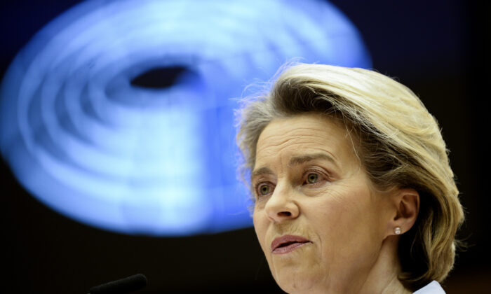 European Commission President Ursula von der Leyen speaks during a debate on the united EU approach to COVID-19 vaccinations at the European Parliament in Brussels, on Feb. 10, 2021. (Johanna Geron/Pool via AP)